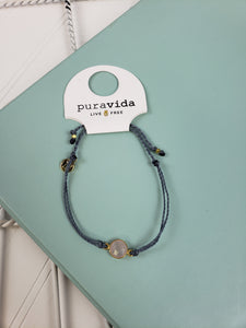 PuraVida Gold Rose Quartz Bracelet: Dusty Blue