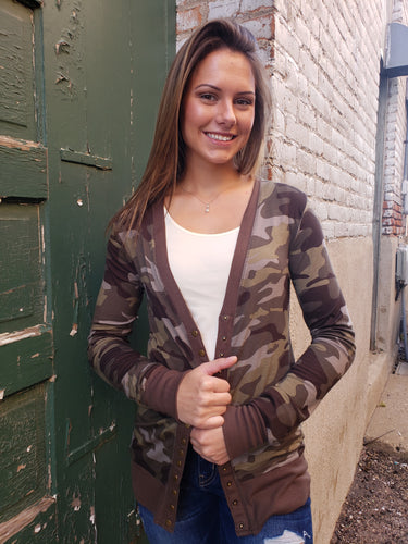 Harley Camo Snap Front Cardigan