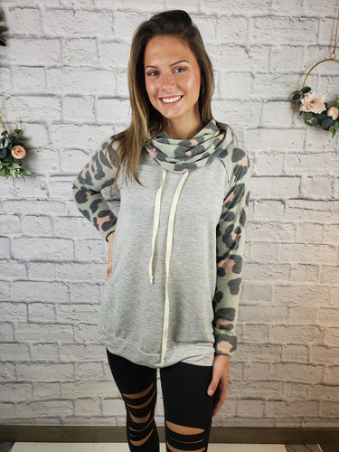 Raylee Leopard Cowl Neck Sweater
