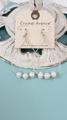 Teardrop Pearl Hoop Earrings