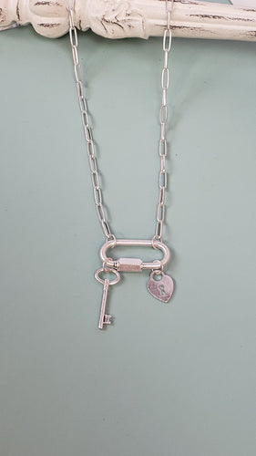 Lock & Key Pendant Necklace