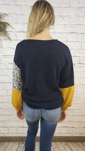 Indya Leopard Color Block Top