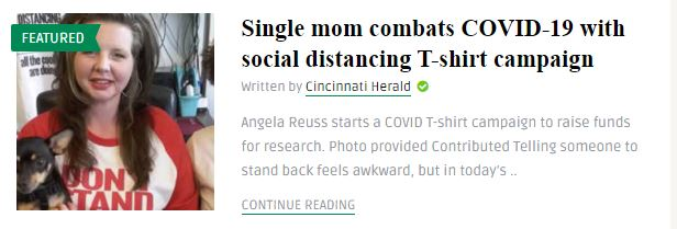 Cincinnati Herald- Combatting Covid-19 with Social Distancing T Shirts