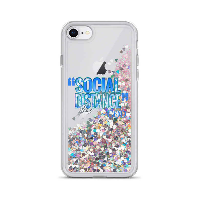 Social Distance ~ God:  iPhone Case for iPhone 7, 8, X, XS, XR, SE, (Liquid Glitter) Social Distancing Phone Case
