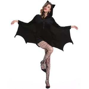 Halloween female cosplay vampire bat costume party role playing Batman jumpsuit hoodie Bat woman costume Stocking Black vampire