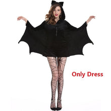 Load image into Gallery viewer, Halloween female cosplay vampire bat costume party role playing Batman jumpsuit hoodie Bat woman costume Stocking Black vampire