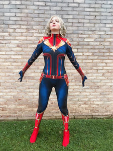 2019 New Kids Surprise Captain Marvel Cosplay Costumes The Avengers 4 COS Top and Pants Daily Clothes Girls Birthday Party Gifts