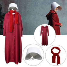 Load image into Gallery viewer, Takerlama The Handmaid's Tale Cosplay Costume Handmaid Offred Women Red Cloak Dress Scarf White Hat Set Halloween Party Props