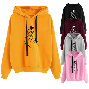 Drop shipping OEAK Women'-shirt Solid Color Long-Sleeved Hooded Pullover Loose casual printed refill hooded women's Sweatshir