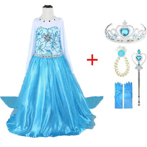 2019 new Elsa Dress girls Party Vestidos Cosplay Girl Clothing Anna Snow Queen Print Birthday Princess Dress Kids Costume