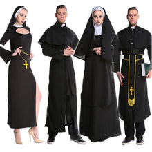 Load image into Gallery viewer, Medieval Cosplay Halloween Costumes for Women Priest Nun Missionary Costume Set 2019 Adult Cosplay Clothing Woman Dress