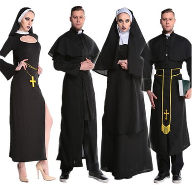 Medieval Cosplay Halloween Costumes for Women Priest Nun Missionary Costume Set 2019 Adult Cosplay Clothing Woman Dress
