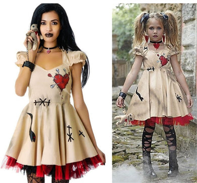 Free Shipping Wedding Ghost Bride Cosplay Voodoo Doll Costumes Halloween Costumes for Women Adult Anime Cosplay Girls Vampire