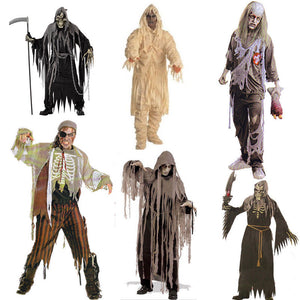 Adult Bloody Butcher Costume Horror Ghoul Killer Costume Scary Halloween Fancy Dress Shirt Mask Apron Men's Cosplay Outfit