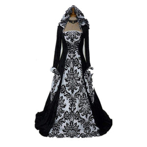Plus Size Girdling Dress for Women Halloween Medieval Cosplay Costumes Victorian Gothic Long Floor Length Hooded Clothing