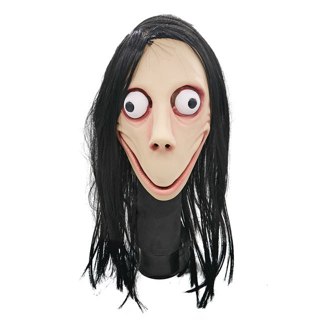 Scary Momo Mask Hacking Game Horror Latex Mask Full Head Momo Mask Big Eye With Long Wigs