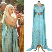 Load image into Gallery viewer, Mother of Dragons Game of Thrones Daenerys Targaryen Costume Long Dress Skyblue Hallowmas Party Cosplay Costume