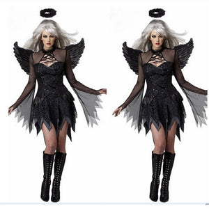 2019 Halloween Costumes For Women Fantasy Cosplay Party Fancy Dress Adult Black Fallen Angel Costume With Angel Wings