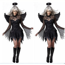 Load image into Gallery viewer, 2019 Halloween Costumes For Women Fantasy Cosplay Party Fancy Dress Adult Black Fallen Angel Costume With Angel Wings