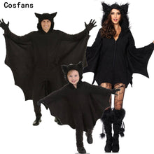 Load image into Gallery viewer, New Adult Children Animal Cosplay Cute Bat Costume Kids Halloween Costumes For Girls Black Jumpsuit Connect Wings Cosplay Batman