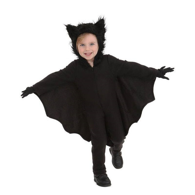 New Adult Children Animal Cosplay Cute Bat Costume Kids Halloween Costumes For Girls Black Jumpsuit Connect Wings Cosplay Batman