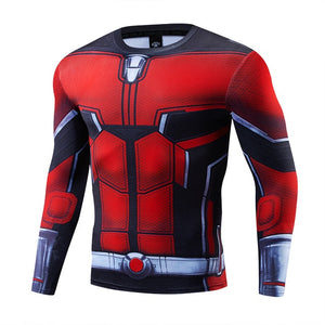 Marvel 3D Ironman Captain Muscle Tees FashionSuperhero Clothes Long SleeveShirt Fitness Man Outfit Tight Quick Drying t shirt