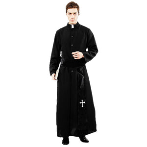 Umorden Adult Black Noble Priest Costume Men Religious Pastor Father Costumes Halloween Purim Party Mardi Gras Fancy Dress