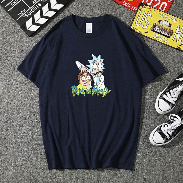 Summer 100% cotton Rick And Morty T Shirts Men Chicken Brothers Man T-shirts Sitcoms Short Sleeve O Neck Cotton Shirts