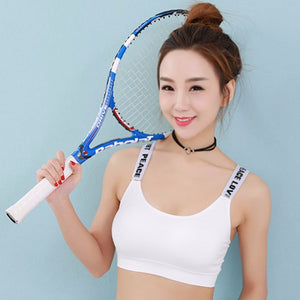 English Letter Tape Wrapped Chest Seamless Steel Ring Free A Sports Bra Female Backing Tape English Letter Sports Bra New Style