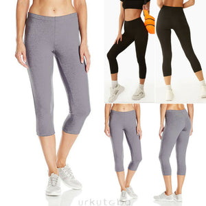 Womens High Waist 3/4 Length Leggings Capri Cropped Summer Yoga Fitness  Running Gym Sport Exercise Pants High Quality
