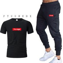Load image into Gallery viewer, Summer hot sale cotton pants Mens Joggers Casual Fitness Pants+t-shirt Male Skinny Sweatpants drawstring Gyms runner Track Pants