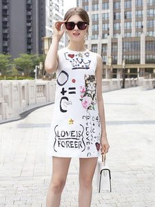 High Quality 2019 Summer New Fashion Women Dress Hipster Letter Cat Print Round Neck Sleeveless Jacquard A Word Dresses Female