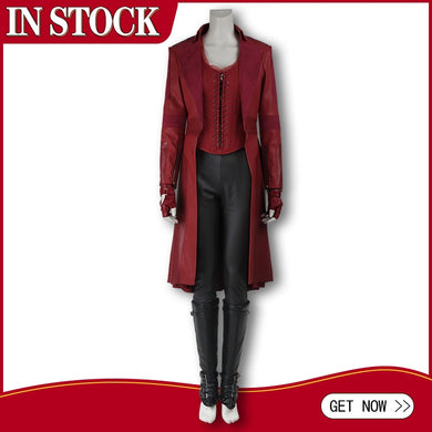 In Stock Avengers Captain America 3 Civil War Costume Scarlet Witch Wanda Maximoff Cosplay Leather Jacket Pants Halloween Outfit