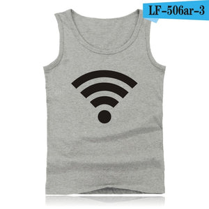 Funny Free WiFi Tank Tops Men Sleeveless Shirt and Bodybuilding Summer Vests in Plus Size Clothing