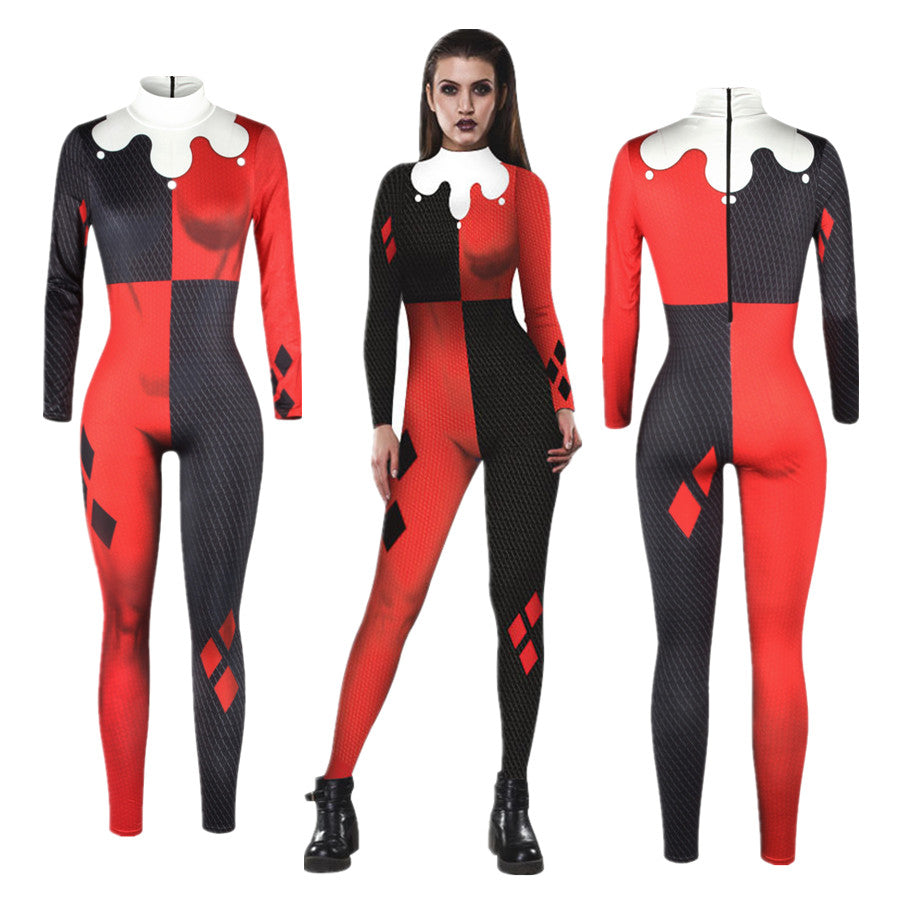 Suicide Squad Harley Quinn Jumpsuit Catsuit Sexy Cosplay Costumes Halloween Women Bodysuit Fancy Dress