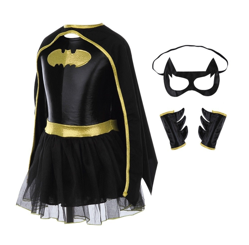 Children Girls Batman Batgirl Fancy Dress Superhero Costume Outfits Comic Cosplay