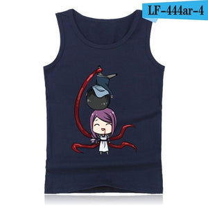 Tokyo Ghoul Anime Tank Top Men with Cartoon Print Summer Vest Bodybuilding Shirt Street Wear Style