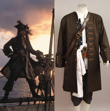 Pirates Of The Caribbean Jack Sparrow Cosplay Costume For Adult Men Halloween Carnival Costumes