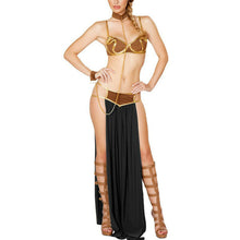 Load image into Gallery viewer, Cosplay for Star Wars in Halloween Carnival Party Vestidos Anime Costumes Adult Women Sexy Princess Leia Slave Bra+skirt Black