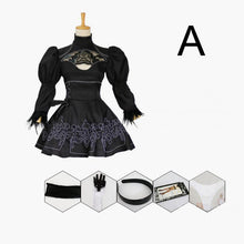 Load image into Gallery viewer, Chinese Size Nier Automata Yorha 2B Cosplay Suit Anime Women Outfit Disguise Costume Set Fancy Halloween Girls Party Black Dress