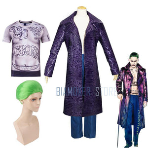 Biamoxer Men Suicide Squad Joker Cosplay Costumes Trench Coat Purple Jacket Clown T Shirts Green Wigs For Halloween Party