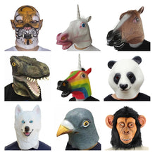 Load image into Gallery viewer, Creepy Horse tiger unicorn dog Rubber Animal Mask latex party Panda Animal Mask kids Party Halloween Masquerade Mask funny