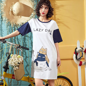 Women Nightgown Cotton Short Sleeve Sleepshirt Cartoon Cat Letter Print Casual Sleepwear Home Dress Female Night Dress