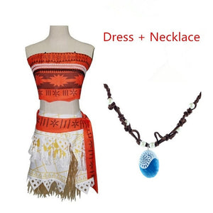 Adult Kids Princess Vaiana Moana Costume Dresses with Necklace Wig Women Girls Halloween Party Moana Dress Costumes Cosplay