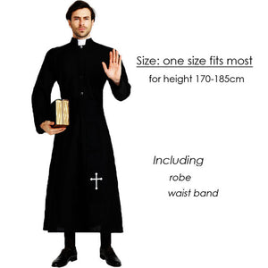 Umorden Easter Purim Halloween Costume for Men Father Priest Bishop Costumes Christian Pastor Clergyman Cosplay