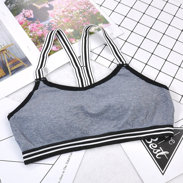 Women Yoga Padded Sport Shirt Women Shockproof Sports Bras Breathable Athletic Fitness Running Vest Tops Gym Shirt