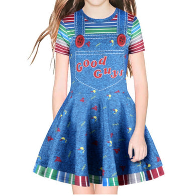 Halloween Cosplay Scary Costume For Kids Girls Children's Play Chucky Good Guys 3D Printed Cosplay Dress Fake 2 Pieces