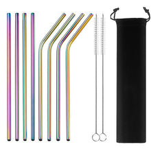 Load image into Gallery viewer, 2/4/8Pcs Colorful Reusable Drinking Straw High Quality 304 Stainless Steel Metal Straw with Cleaner Brush For Mugs 20/30oz