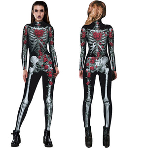 New Women Sexy Bodysuits Halloween Costumes For Women 3D Skull Rose Printing Jumpsuits Punky Back Yoga Day of the Dead