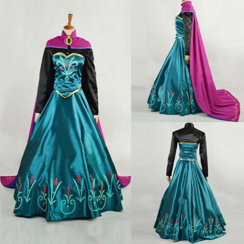 Novelty Woman Dress Playing Frozen Snow Anna Fancy Dress With Cape Queen Cosplay Stage Costume Women Adults